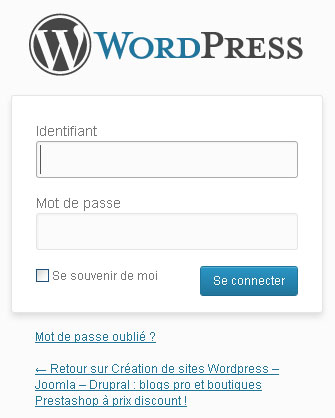 Wordpress - connecter en mode Administration